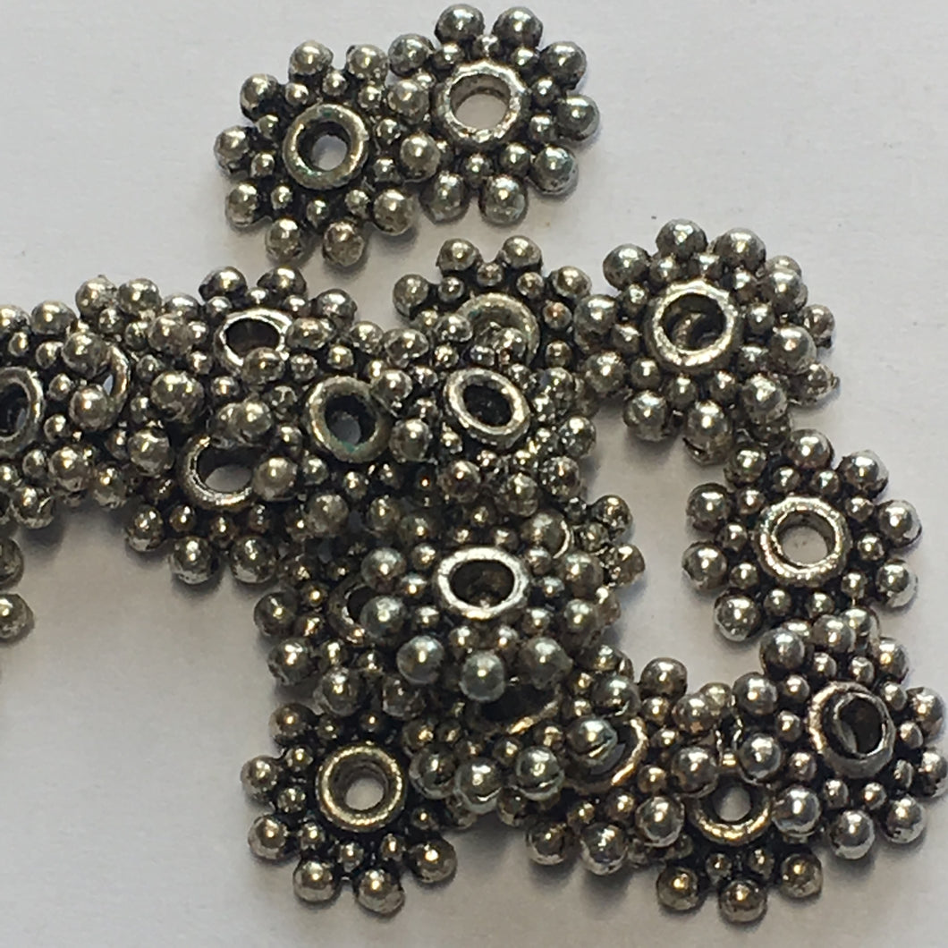 Antique Silver Bali Style Flat Flower Daisy Spacer Beads, 10 mm - 22 Beads