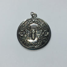 Load image into Gallery viewer, Antique Silver Bumblebee/Flower Design Round Pendant, 39 mm