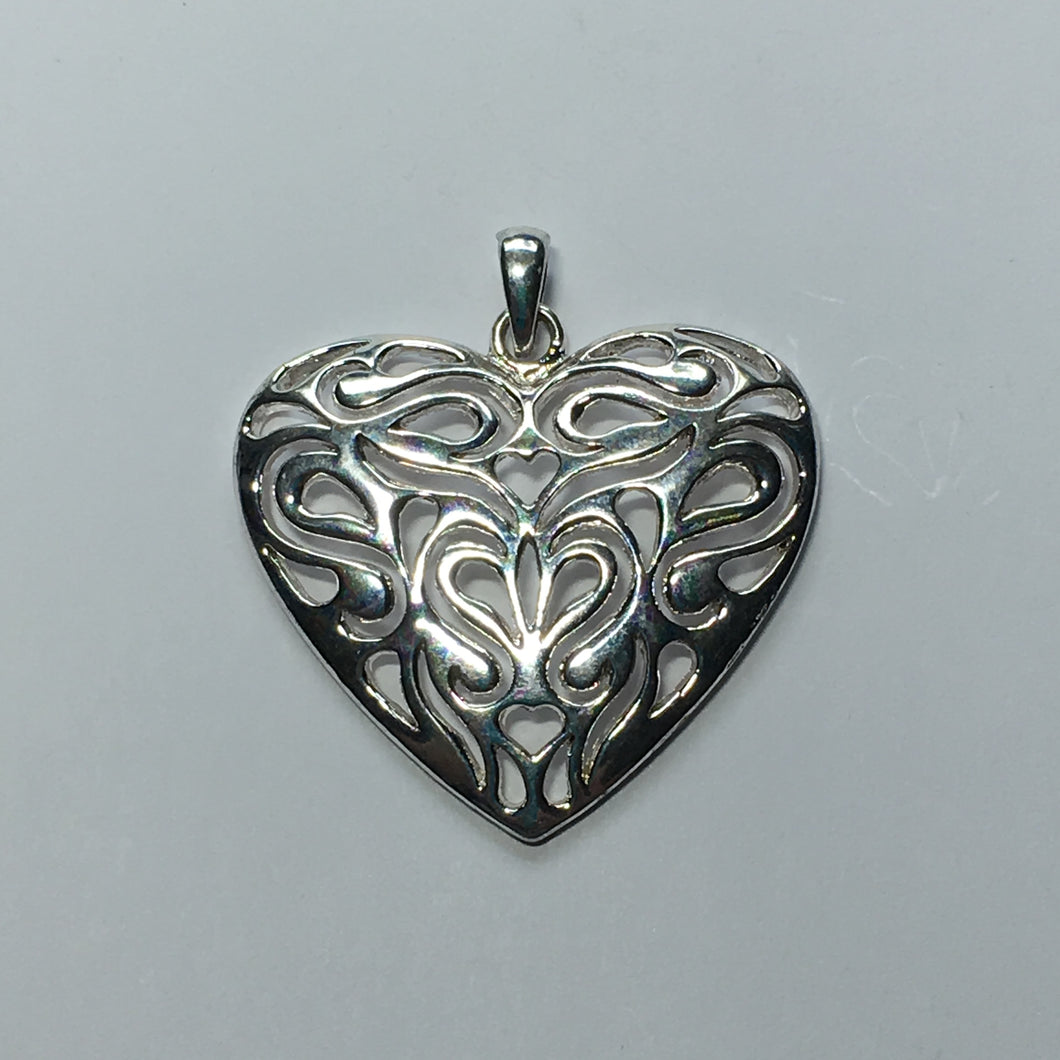 Bright Silver Heart with Heart Design Pendant, 38 x 41 mm