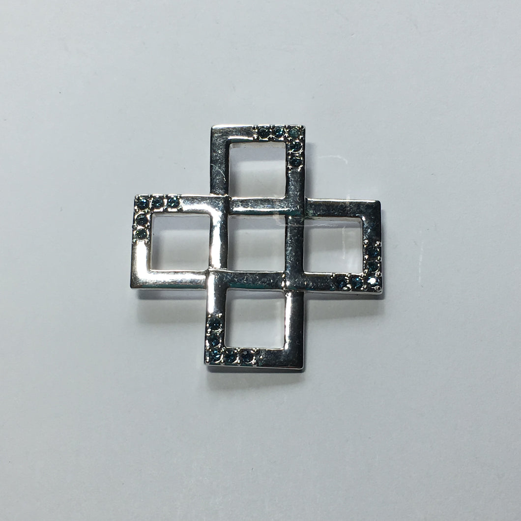 Blue Crystal and Silver Geometric Slider Pendant, 37 mm