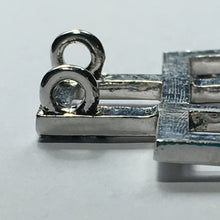 Load image into Gallery viewer, Blue Crystal and Silver Geometric Slider Pendant, 37 mm