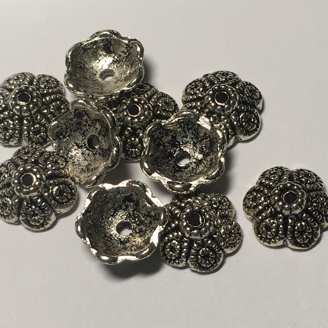 Antique Silver Dotted Swirl Round Bead Caps, 12 mm  - 10 Caps