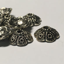 Load image into Gallery viewer, Antique Silver Dotted Swirl Round Bead Caps, 12 mm  - 10 Caps