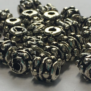 Antique Silver Bali Style Spacer Beads, 5 mm - 15 or 25 Beads