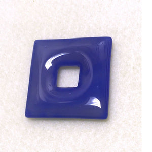 Blue Agate Semi-Precious Stone Square 40 mm with 12 mm Square Hole 6 mm Thick - 1 piece