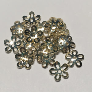 Silver Plated Flower Bead Caps, 10 mm  - 23 Caps