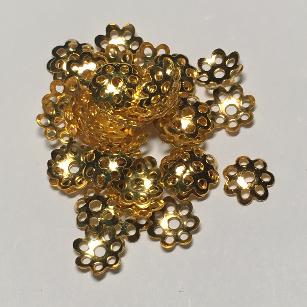 Gold Plated Bead Caps, 8 mm  - 14 or 50 Caps