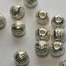 Load image into Gallery viewer, Bright Silver Textured Round Metal Beads, 5 mm  - 14 Beads