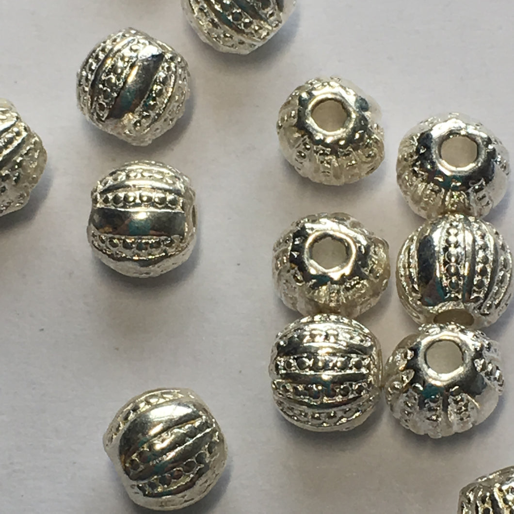 Bright Silver Textured Round Metal Beads, 5 mm  - 14 Beads