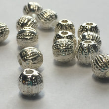 Load image into Gallery viewer, Bright Silver Textured Round Beads, 5 mm  - 14 Beads