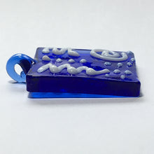Load image into Gallery viewer, Cobalt Blue Square Glass Pendant with White Drizzles, 38 x 25 x 4 mm