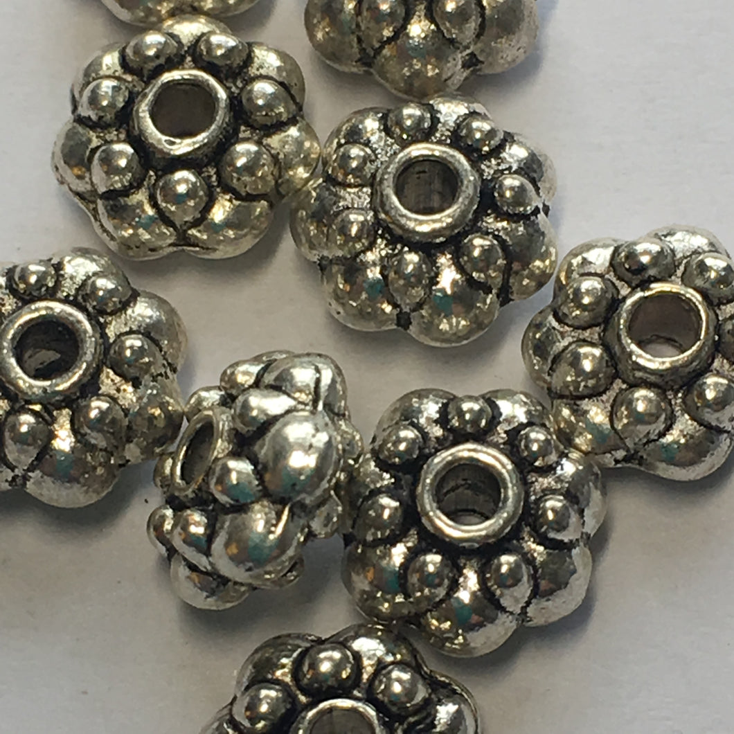 Antique Silver Bali Beads with Large and Small Granulations, 8 x 4 mm - 10 or 12 Beads