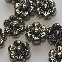 Load image into Gallery viewer, Antique Silver Flower Beads, 10 mm - 10 Beads