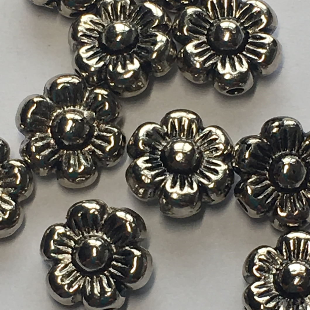 Antique Silver Flower Beads, 10 mm - 10 Beads