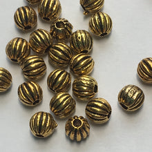 Load image into Gallery viewer, Antique Gold Corrugated Round Beads, 4 mm  - 28 Beads