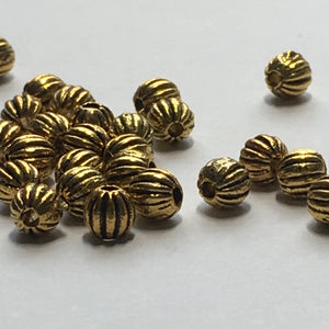 Antique Gold Corrugated Round Beads, 4 mm  - 28 Beads