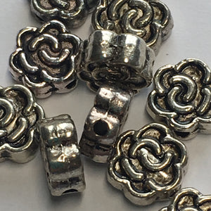 Antique Silver Metal Flower Spacer Beads 7 mm wide, 3 mm Thick - Quantity 10