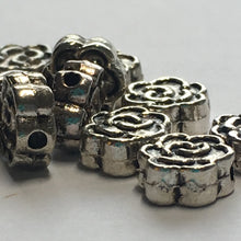 Load image into Gallery viewer, Antique Silver Metal Flower Spacer Beads 7 mm wide, 3 mm Thick - Quantity 10