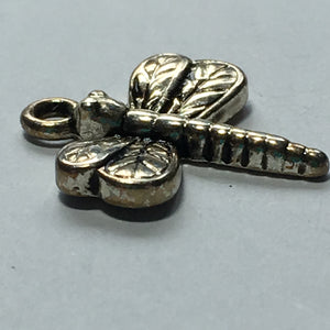 Antique Silver Dragonfly Charm, 18 x 15 mm