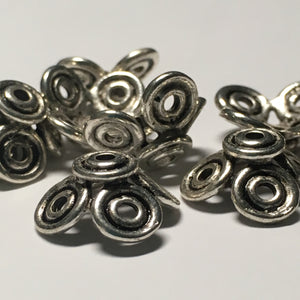 Antique Silver Square Bead Caps, 15 mm  - Quantity 10