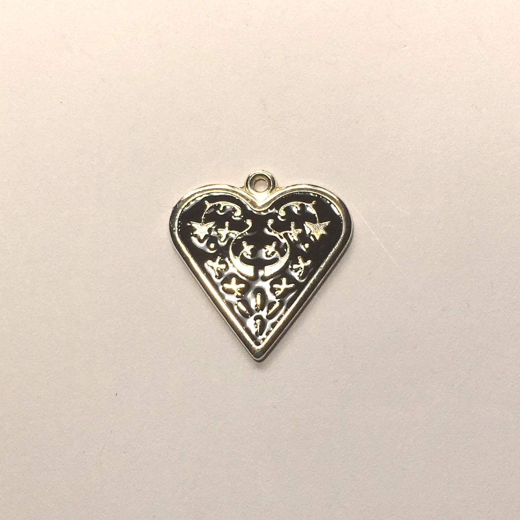 Bright Silver Plated Heart Charm/Pendant with Black Enamel Inlay Flower Design 25 x 25 mm