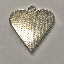 Load image into Gallery viewer, Bright Silver Plated Heart Charm/Pendant with Black Enamel Inlay Flower Design 25 x 25 mm
