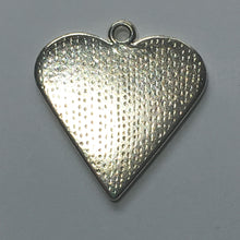 Load image into Gallery viewer, Bright Silver Plated Heart Charm/Pendant with Black Enamel Inlay Vine Design 25 x 25 mm
