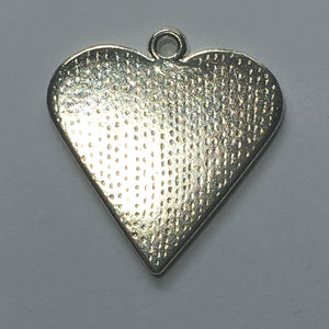 Bright Silver Plated Heart Charm/Pendant with Black Enamel Inlay Vine Design 25 x 25 mm