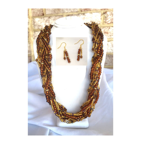 Brown and Gold Braided Bead Necklace and Dangle Earrings Set