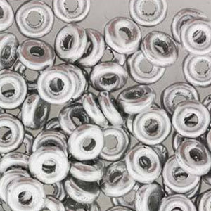 Czech O Bead 1 x 3.8 mm 01700 Aluminum Silver Beads (Circle, Zero, Donut) - 5 gm