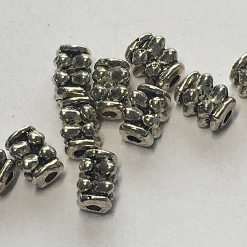 Antique Silver Rectangle Bali Beads, 6 x 4 mm - 8 or 10 Beads
