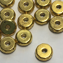 Load image into Gallery viewer, Gold Faceted Coin Spacer Beads, 8 x 3 mm - 17 or 20 Beads