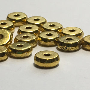 Gold Faceted Coin Spacer Beads, 8 x 3 mm - 17 or 20 Beads
