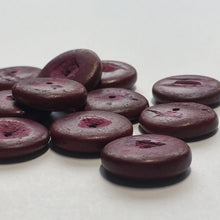 Load image into Gallery viewer, Purple Dyed Palm Wood Saucer Beads, 4 x 15 mm, 12 Beads