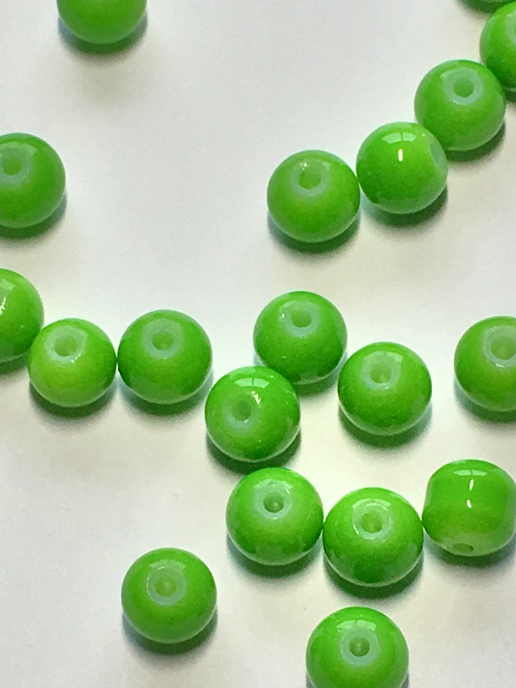 Neon Green Painted Glass Round Beads, 6 mm, 20 Beads