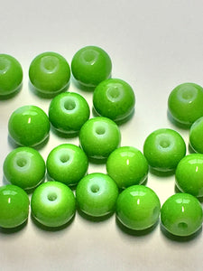Neon Green Painted Glass Round Beads, 7 mm, 21 Beads