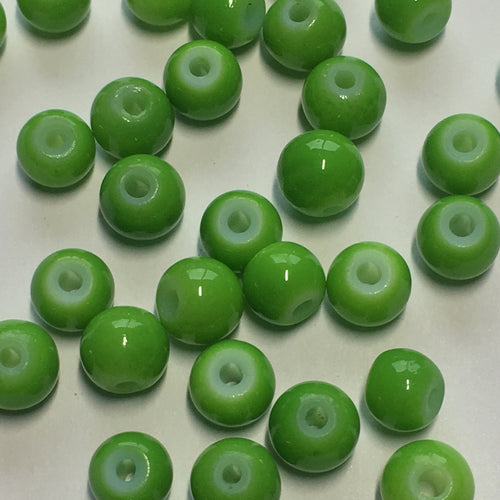 Neon Green Painted Glass Round Beads, 5 mm, 32 Beads