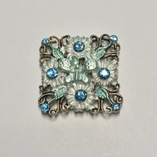 Load image into Gallery viewer, Silver Square Butterfly Slider Focal Bead with Swarovski Blue Zircon Crystals, 28 x 5 mm
