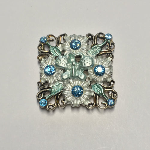 Silver Square Butterfly Slider Focal Bead with Swarovski Blue Zircon Crystals, 28 mm, 5 mm Thick