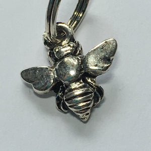 Antique Silver 3D Bee Charm, 12 x 10 mm