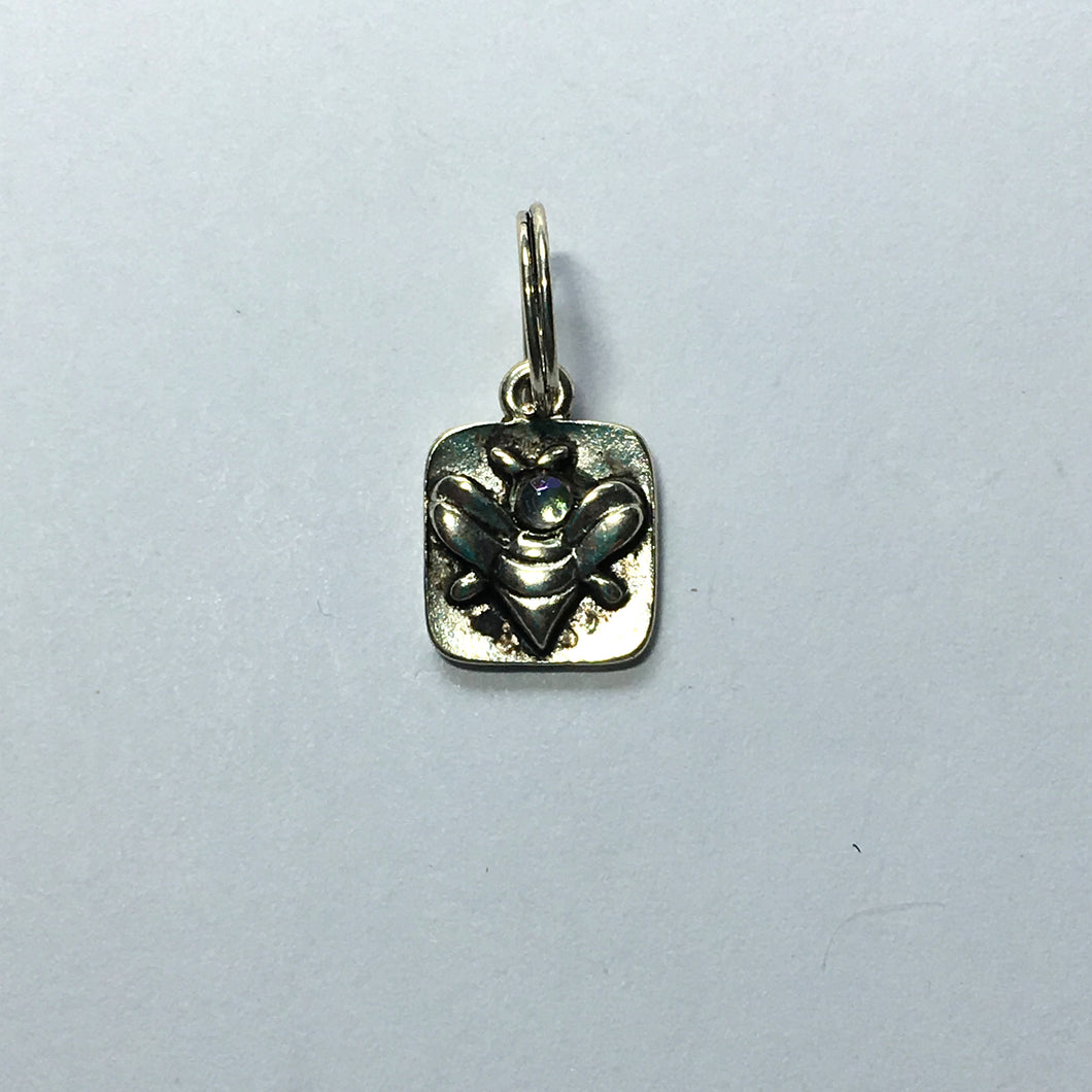Antique Silver Bee with Glass Head Square Charm, 15 x 10 mm