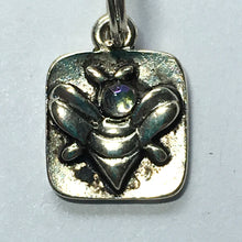 Load image into Gallery viewer, Antique Silver Bee with Glass Head Square Charm, 15 x 10 mm