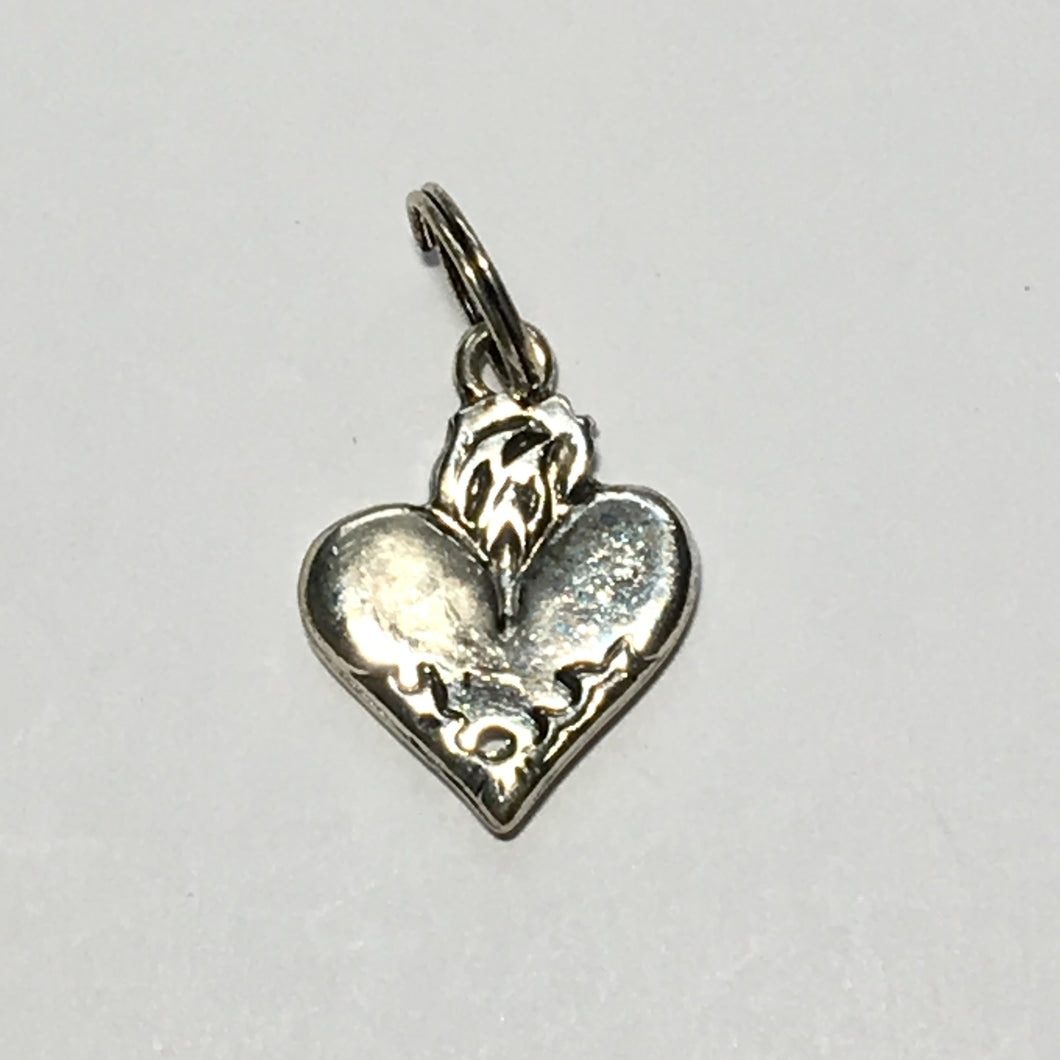 Antique Silver Heart Shaped Charm 20 x 15 mm