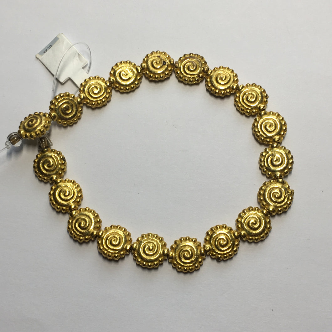 Gold Swirled Saucer Beads, 10 mm - 19 Beads