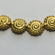 Load image into Gallery viewer, Gold Swirled Saucer Beads, 10 mm - 19 Beads