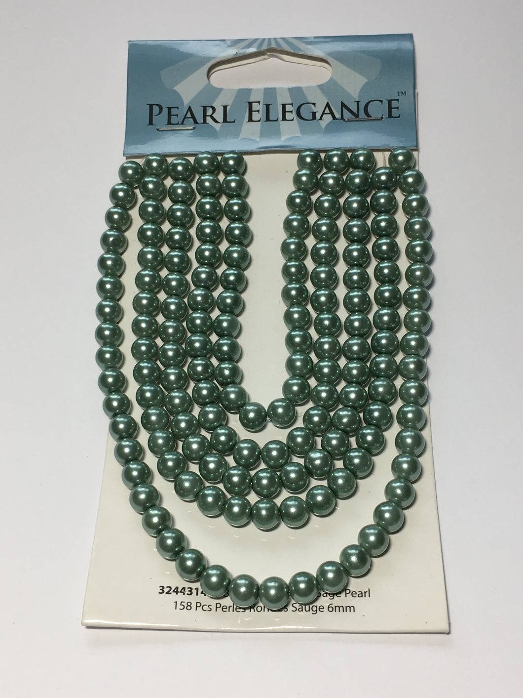 Pearl Elegance Sage Round Glass Pearls, 6 mm  - 158 Beads
