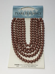 Pearl Elegance Light Brown Round Glass Pearls, 6 mm - 158 Beads