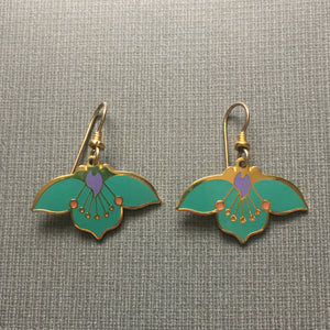 Vintage Laurel Burch 1970's Cloisonne Enamel Green Desert Flower Earrings