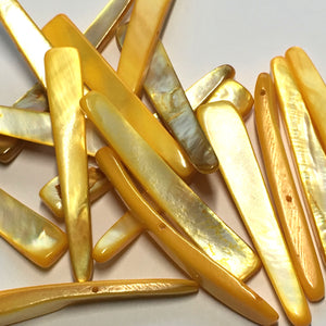 Yellow Dyed Shell Two-Strand Dagger Beads, 7 x 45 mm, 17 Beads
