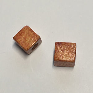 Rust Brown Veined Acrylic Square / Cube Bead, 8 x 7 mm - 2 Beads